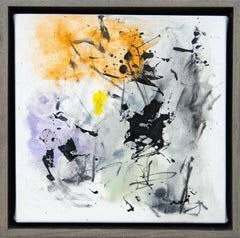 Denouement No 26 - small, orange, purple, grey, gestural abstract, oil on canvas