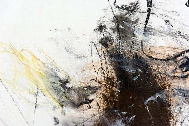 Calligraphic charcoal lines swirl in an eddy of multicolored strokes -- dark red, soft blue and light yellow -- in this dynamic oil by Scott Pattinson.  Shipping is complimentary in North America, and we can ship to the US tax and duty exempt.