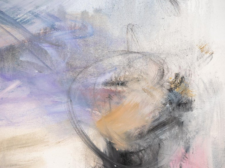 Clouds of lavender, rose and charcoal swirl gently in this atmospheric abstract canvas by Scott Pattinson. Framed dimensions are 56.75 x 41.75 inches.  Pattinson studied architecture and urban design at the University of Toronto and completed a BES