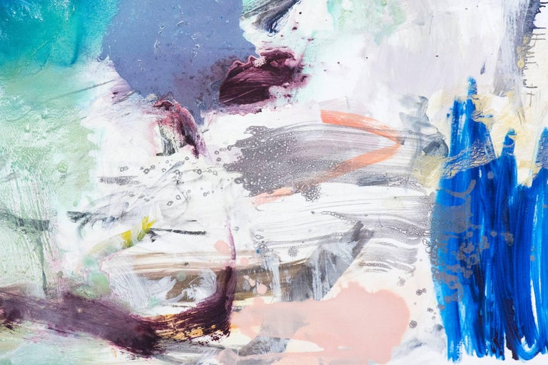 A spray of sapphire blue holds the centre of this dynamic oil composition by Scott Pattinson. The work is a narrative of gestural passages and calligraphic marks in lemon yellow, greens, pink and dove gray on brilliant white. This painting is