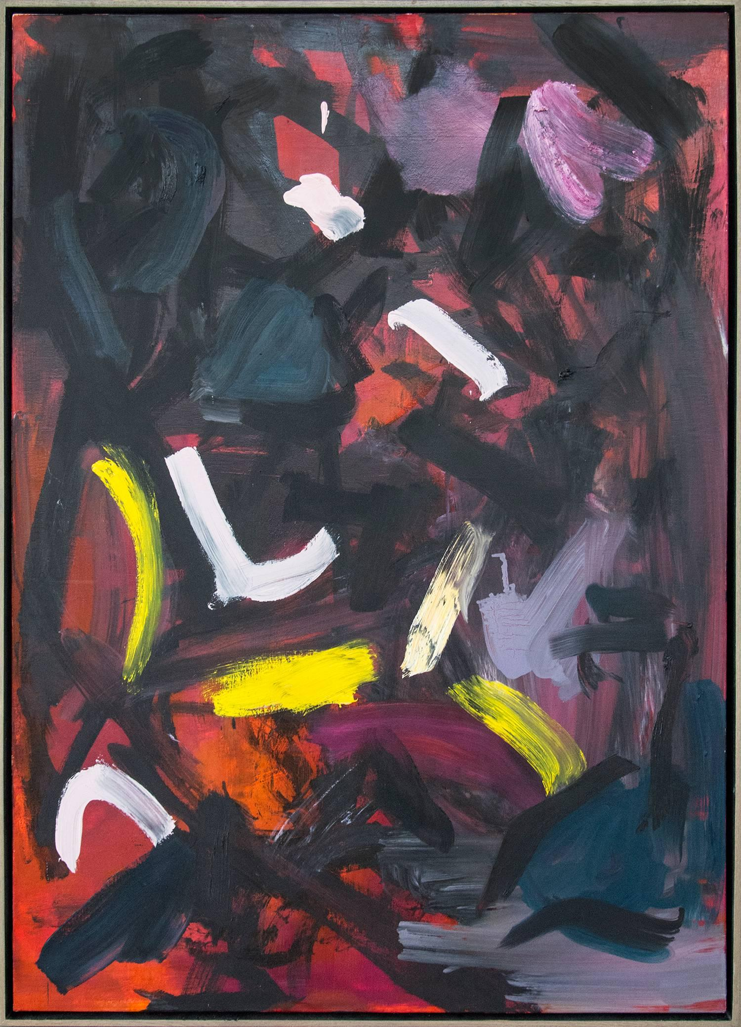 Ouvert No 48 - bold, black, yellow, red, pink, gestural abstract oil on canvas