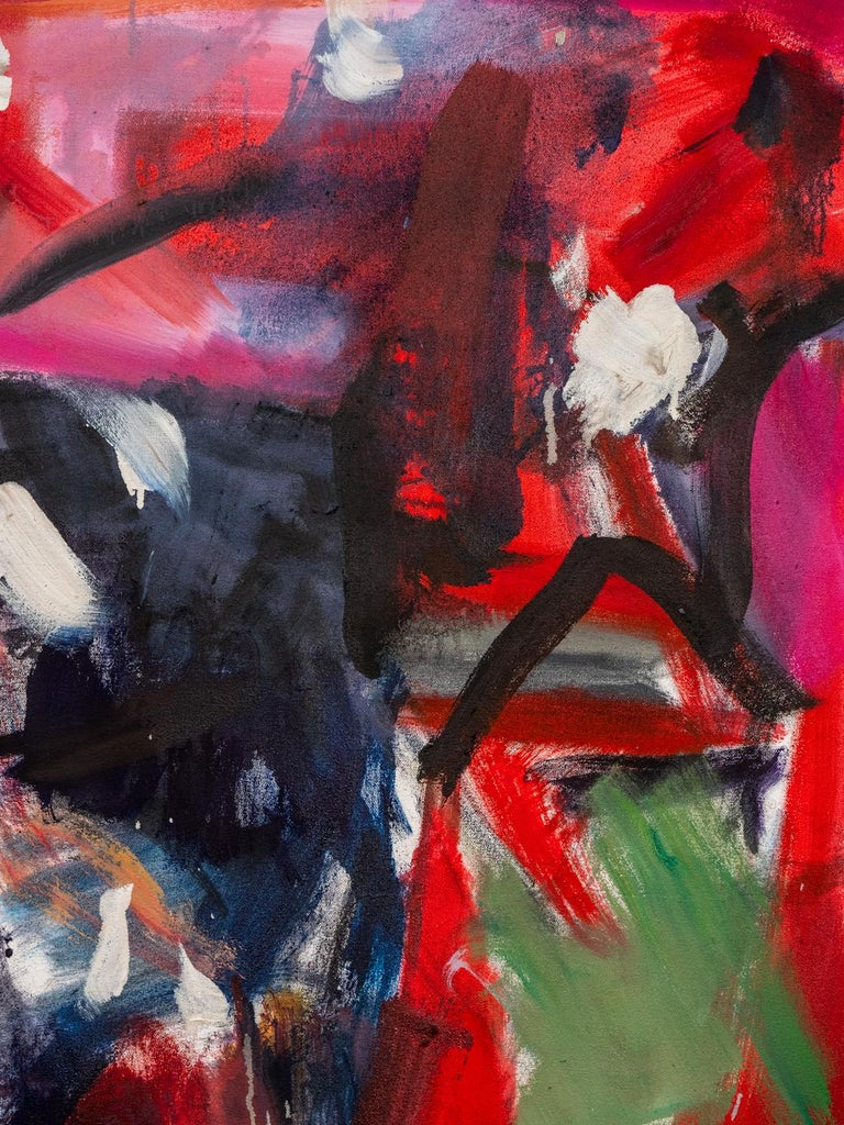 Think They Were - large square red black and white abstract painting For Sale 1