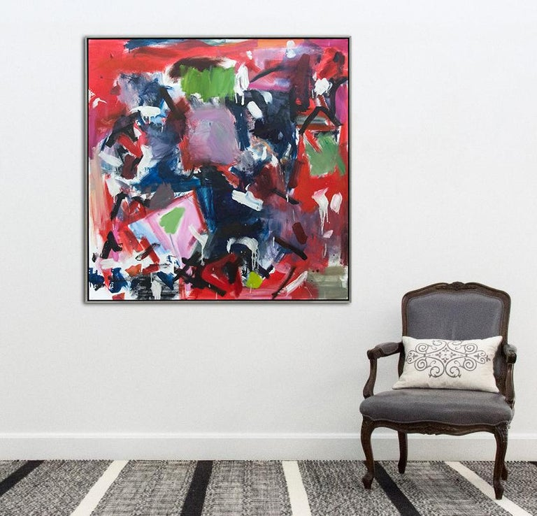 Think They Were - large square red black and white abstract painting For Sale 3
