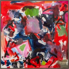 Think They Were - large square red black and white abstract painting
