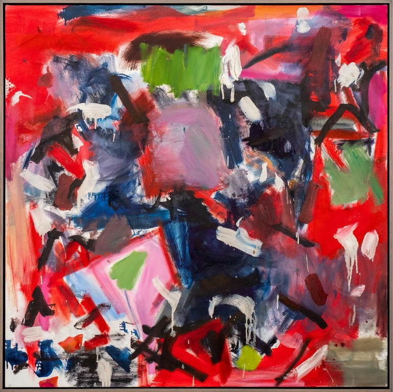 Scott Pattinson Abstract Painting - Think They Were - large square red black and white abstract painting