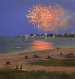 "Realist painting with blue and orange, ""Fireworks in Provincetown"", oil on panel"