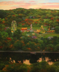 """Realist painting with green and red, """"Fairgrounds on the River"""", oil on panel"""