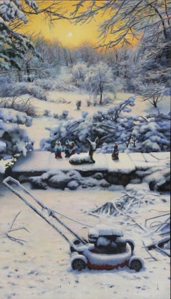 """Realist painting with white and yellow, """"First Snow"""", oil on wood panel"""