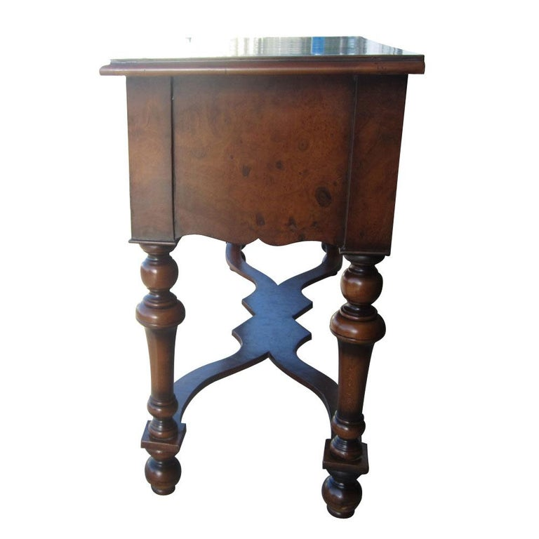 American Classical Scott Thomas Traditional Burled Walnut Console Table For Sale