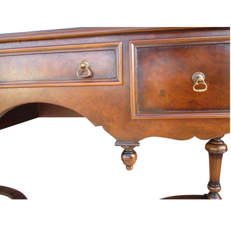 American Scott Thomas Traditional Burled Walnut Console Table For Sale