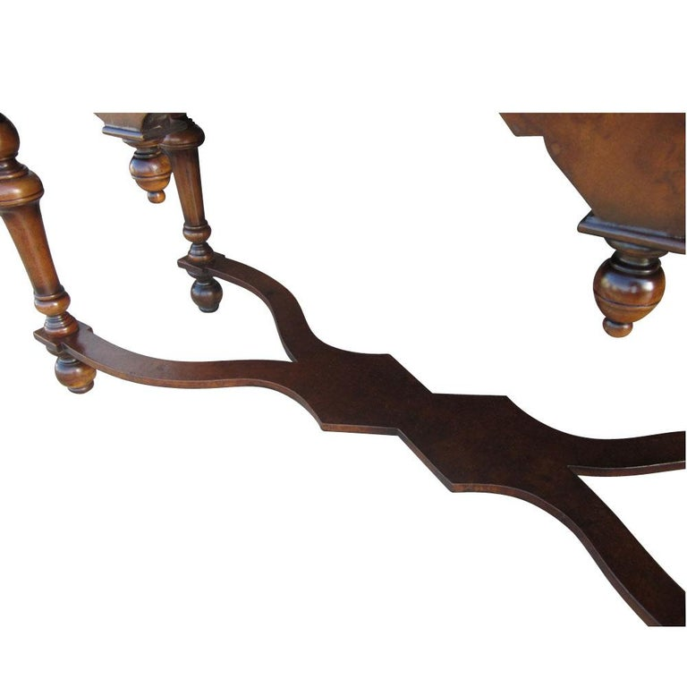 Late 20th Century Scott Thomas Traditional Burled Walnut Console Table For Sale