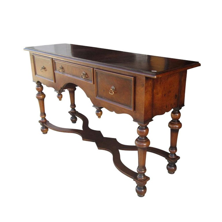 Scott Thomas Traditional Burled Walnut Console Table For Sale