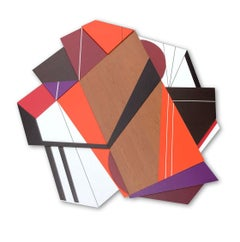 Achtung III (modern abstract wall sculpture minimal geometric design wood art)