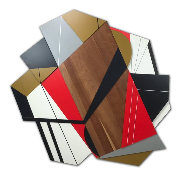 Achtung is a vibrant large-scale mixed media wall sculpture. The solid American cherry hardwood panel was repurposed from a 70-year-old wood dining room table. Layers of MDF panels are then laid on top of the cherry to create dimension and movement.
