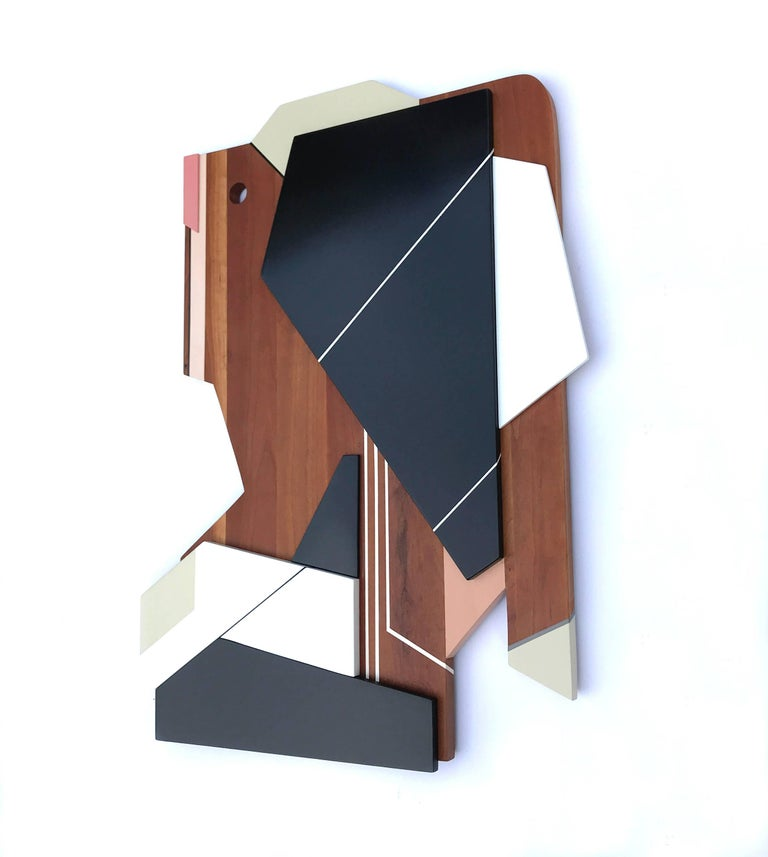 Apollo III (wood, modernism wall sculpture, abstract geometric, modern design) - Modern Sculpture by Scott Troxel
