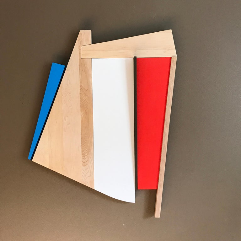 Chief (modern abstract wall sculpture geometric design red white blue wood art) - Brown Abstract Sculpture by Scott Troxel