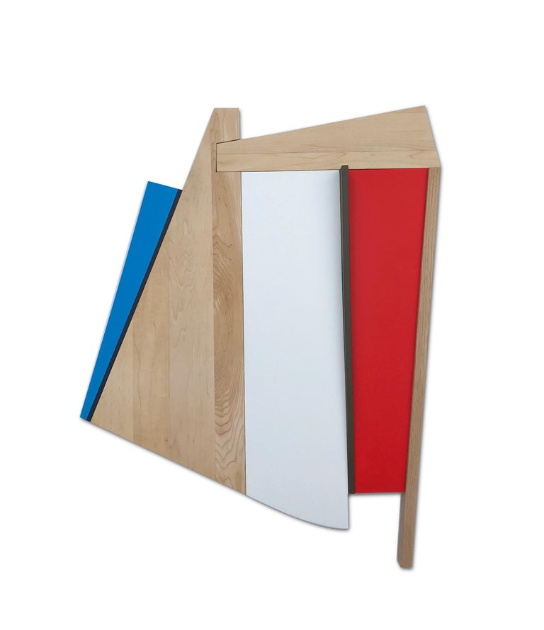 Scott Troxel Abstract Sculpture - Chief (modern abstract wall sculpture geometric design red white blue wood art)
