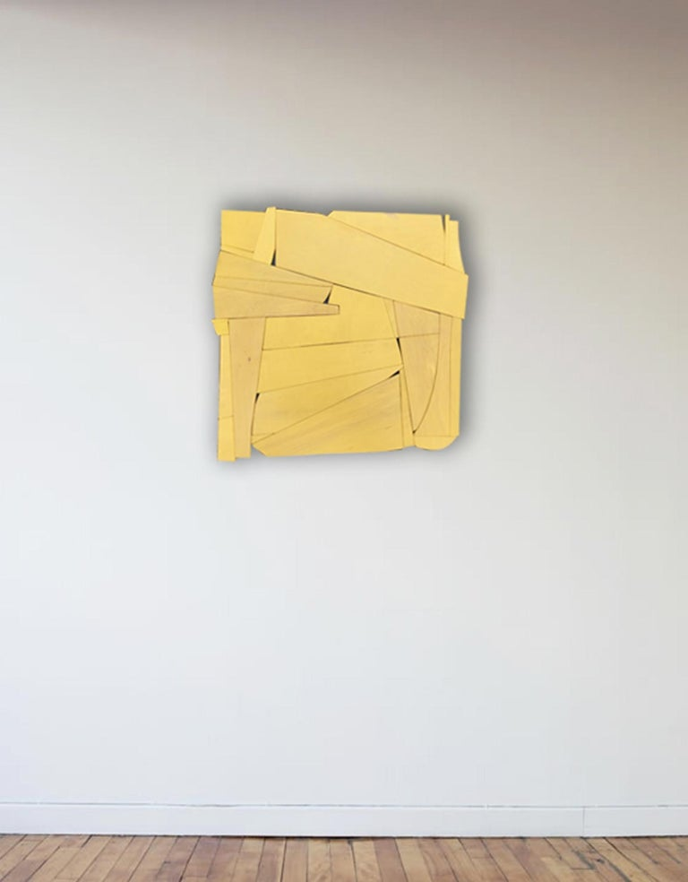 Cornflower II (modern ochre abstract wall sculpture minimal geometric design ) - Painting by Scott Troxel
