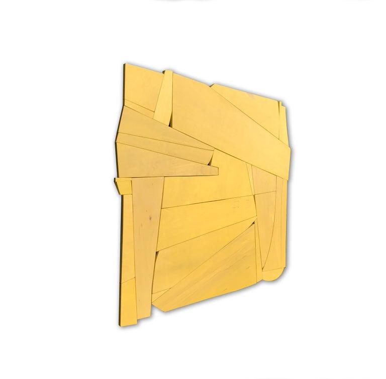Cornflower II (modern ochre abstract wall sculpture minimal geometric design ) - Minimalist Painting by Scott Troxel