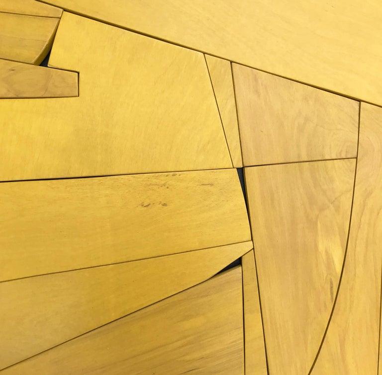 Cornflower II (modern ochre abstract wall sculpture minimal geometric design ) - Brown Abstract Painting by Scott Troxel
