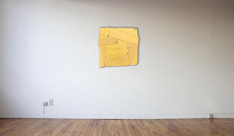 Cornflower II (modern ochre abstract wall sculpture minimal geometric design ) For Sale 1