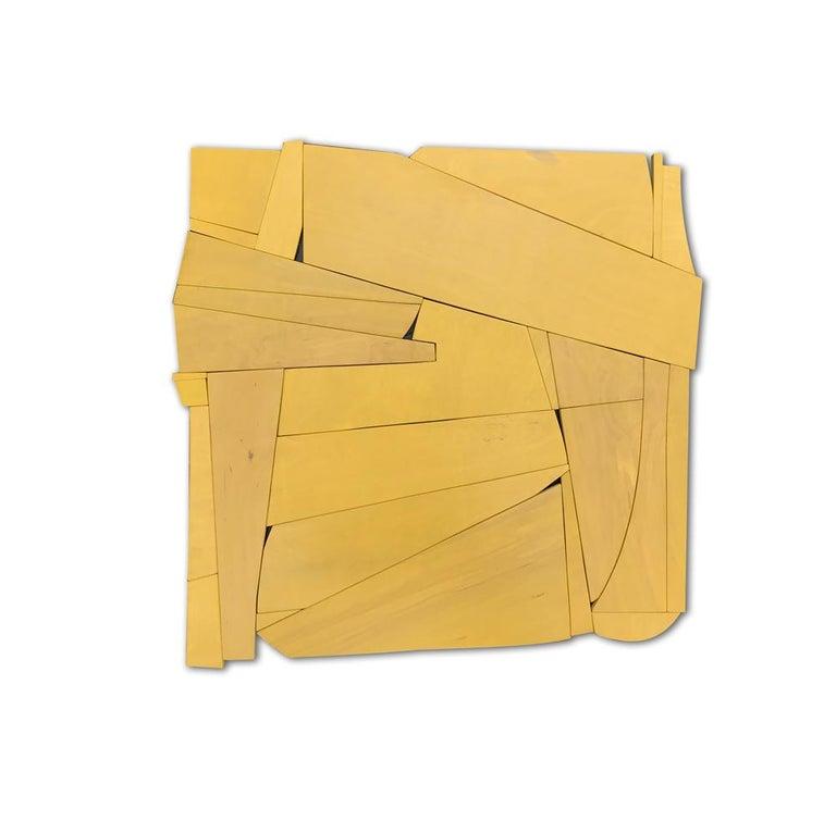 Scott Troxel Abstract Painting - Cornflower II (modern ochre abstract wall sculpture minimal geometric design )