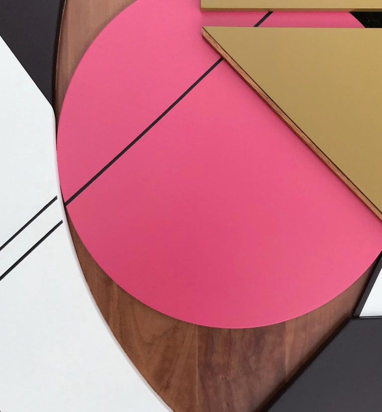 Cronos IV (modern abstract wall sculpture geometric design wood assemblage pink) - Painting by Scott Troxel