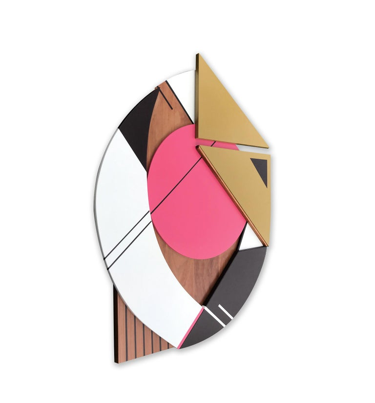 Cronos IV (modern abstract wall sculpture geometric design wood assemblage pink) - Modern Painting by Scott Troxel