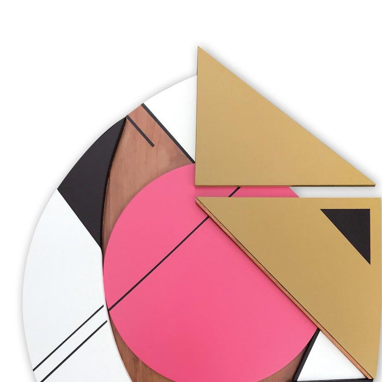 Cronos IV (modern abstract wall sculpture geometric design wood assemblage pink) - Brown Abstract Painting by Scott Troxel