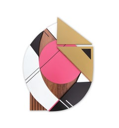 Cronos IV (modern abstract wall sculpture geometric design wood assemblage pink)
