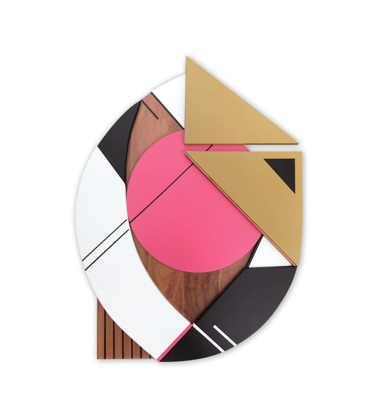 Scott Troxel Abstract Painting - Cronos IV (modern abstract wall sculpture geometric design wood assemblage pink)