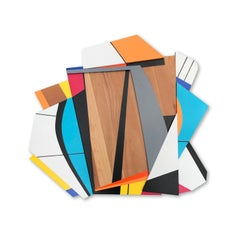 Quiet Riot IV (modern abstract wall sculpture minimal geometric design wood art)