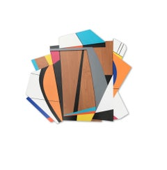Quiet Riot V (modern abstract wall sculpture minimal geometric design wood art)