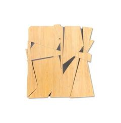 Phonecian (tan monochrome natural wood sculpture minimal geometric art deco)