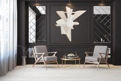 PoleStar (Wyatt Khan white natural wood abstract wall sculpture geometric art)