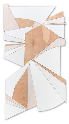 "Scott Troxel ""Trapeze"" Abstract Wood Wall Sculpture"