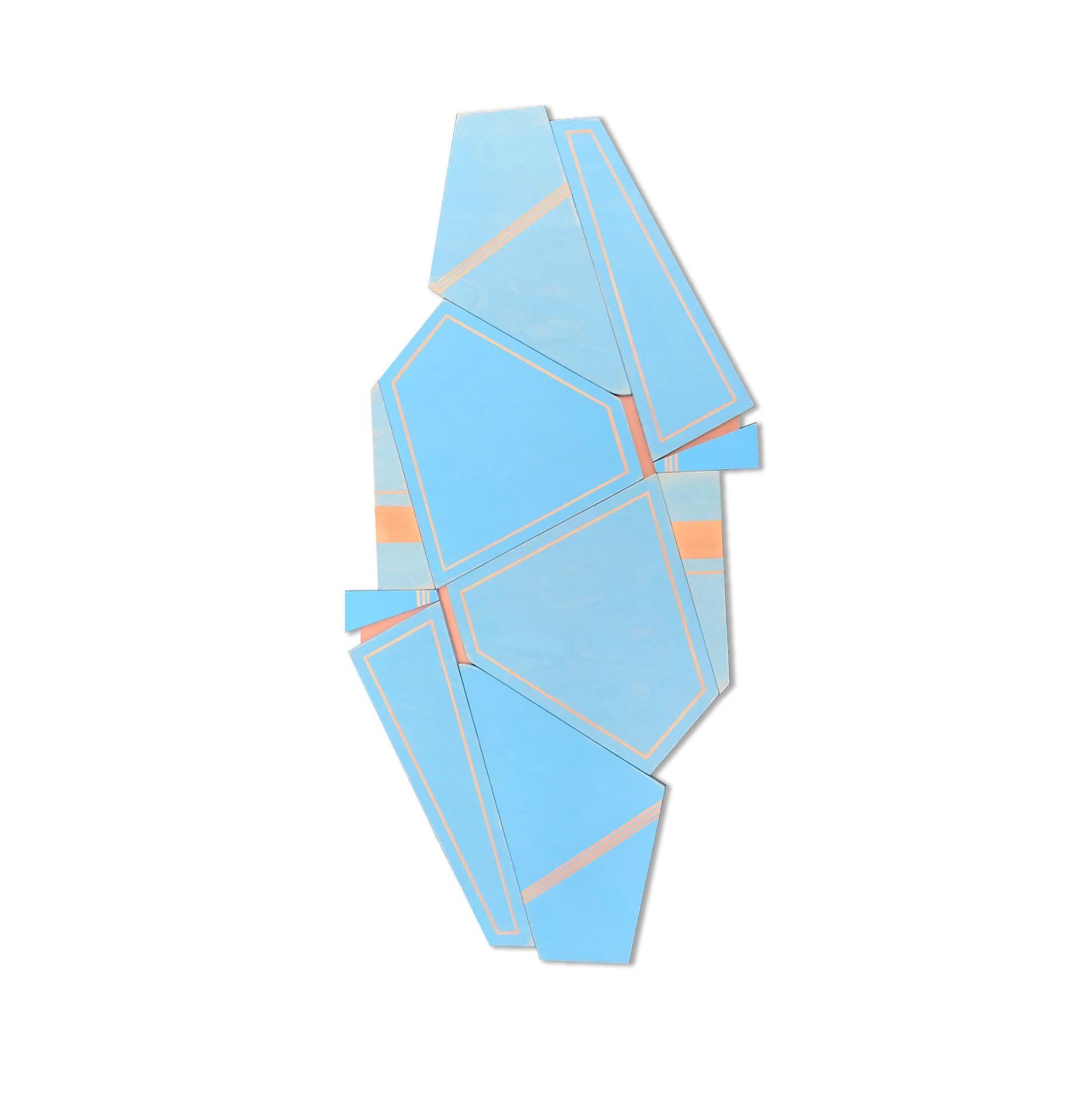 Space Candy II (wood art deco sky blue modern wall sculpture minimal geometric