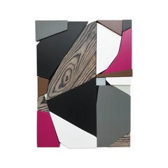 SSB1 (grey black mid-century wood wall sculpture magenta abstract geometric art)