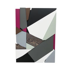 SSB2 (grey black mid-century wood wall sculpture magenta abstract geometric art)