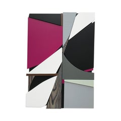 SSB3 (grey black mid-century wood wall sculpture magenta abstract geometric art)