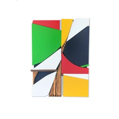 SSB4 (red yellow black mid-century wood wall sculpture green abstract geometric)