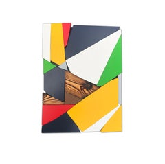 SSB5 (red yellow black mid-century wood wall sculpture green abstract geometric)