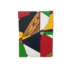 SSB6 (red yellow black mid-century wood wall sculpture green abstract geometric)