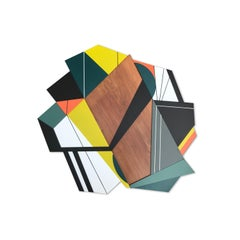 Achtung VI (Frank Stella bold mid-modern geometric green orange black and white)