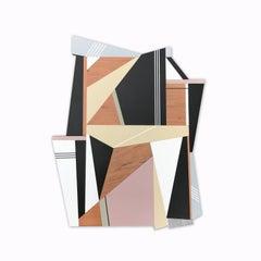 Atlas (wood wall sculpture modern Art Deco design neutrals abstract geometric)