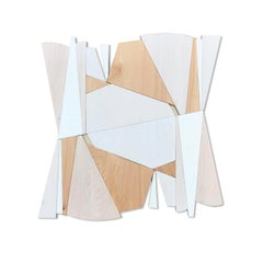 Banneret (wood, modernism wall sculpture, minimal geometric, modern white cream