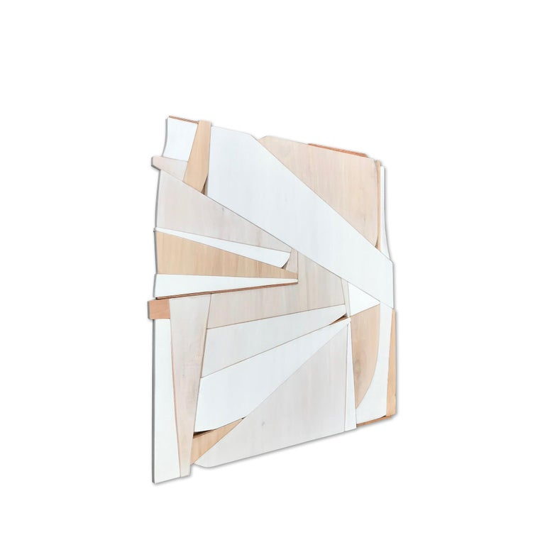 Biscuit III (modern abstract wall sculpture minimal geometric design neutrals) - Minimalist Painting by Scott Troxel