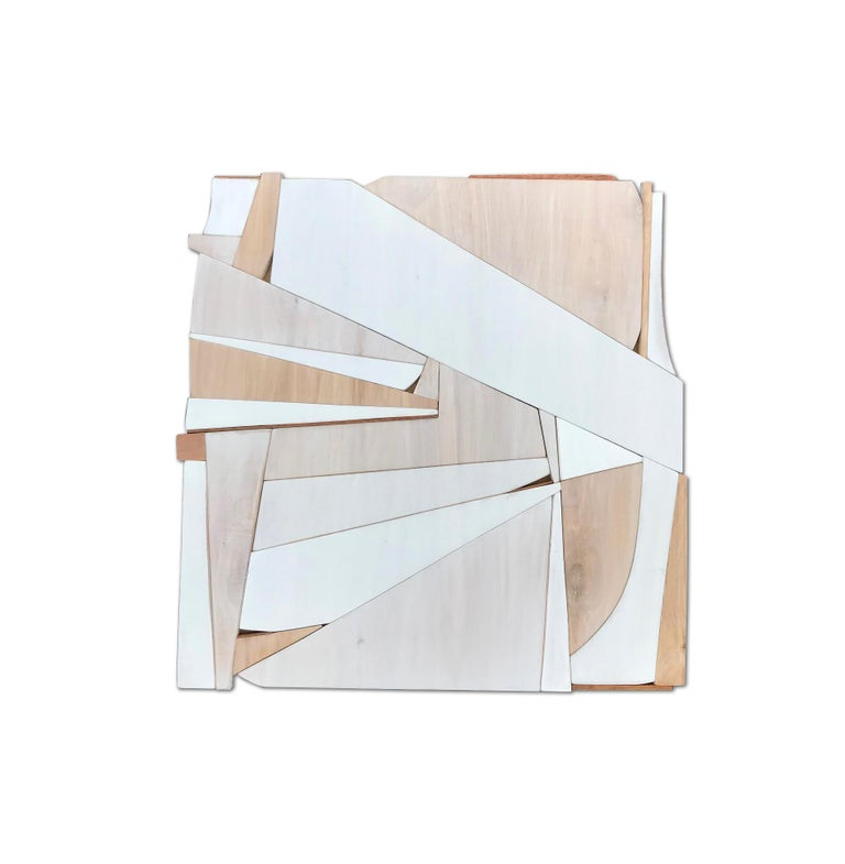 Scott Troxel Abstract Painting - Biscuit III (modern abstract wall sculpture minimal geometric design neutrals)