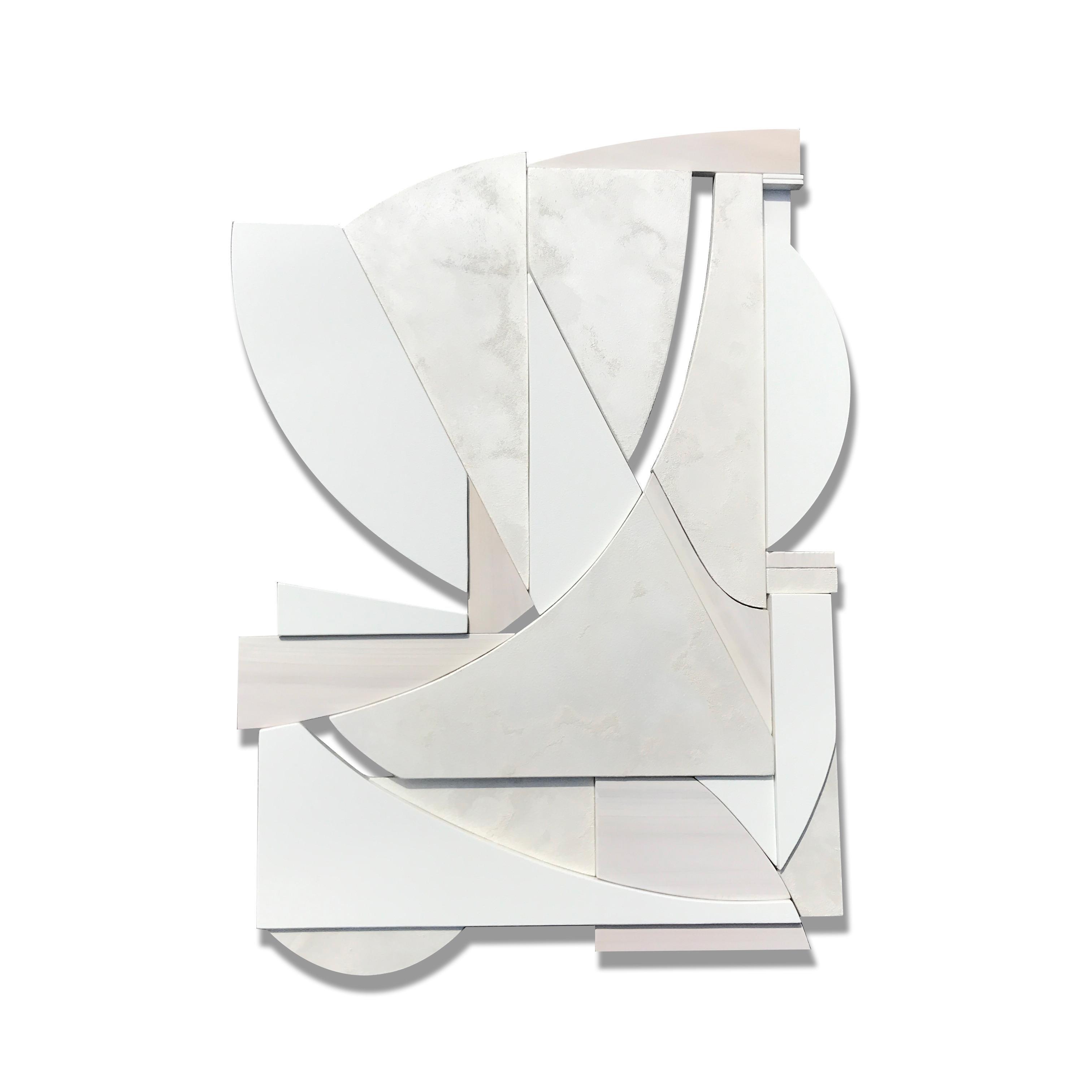 Blanco (modern art deco abstract wall sculpture geometric white monochrome cubic