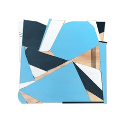 Blue Bird (bermuda blue, navy, modern wall sculpture, abstract geometric art)